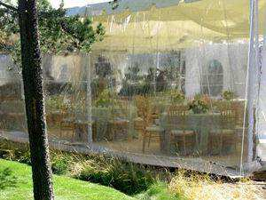 Clear walls on tents allow the views in | Photo from Ventura Rental Party Center