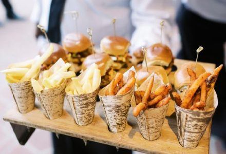 First Date meals can result in great opportunities for late night snacks for receptions | BBQ Pork Sandwich Pulled Pork Slider with Crispy Slaw Chorizo Slider with Pickled Red Onion French Fries served in bamboo cones