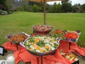 Nice food display - grass in background