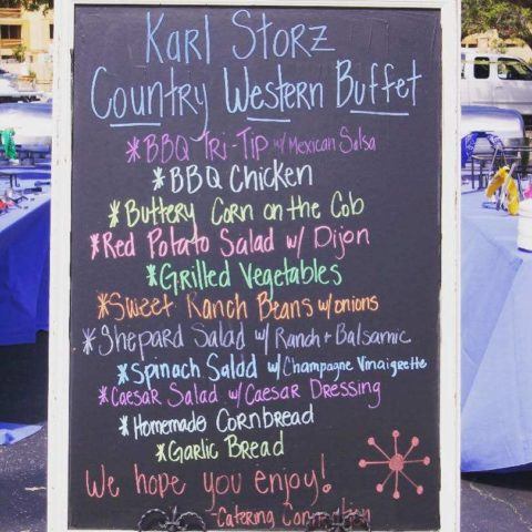 Food menu for an event catered by Catering Connection in Santa Barbara, California.