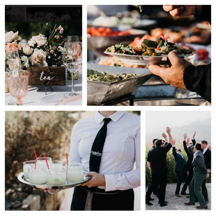 wedding catering food and server